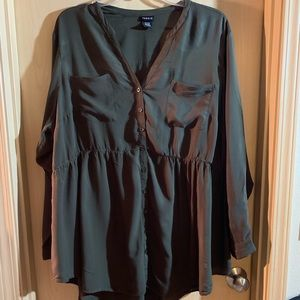 Torrid long sleeve, olive green, button front top